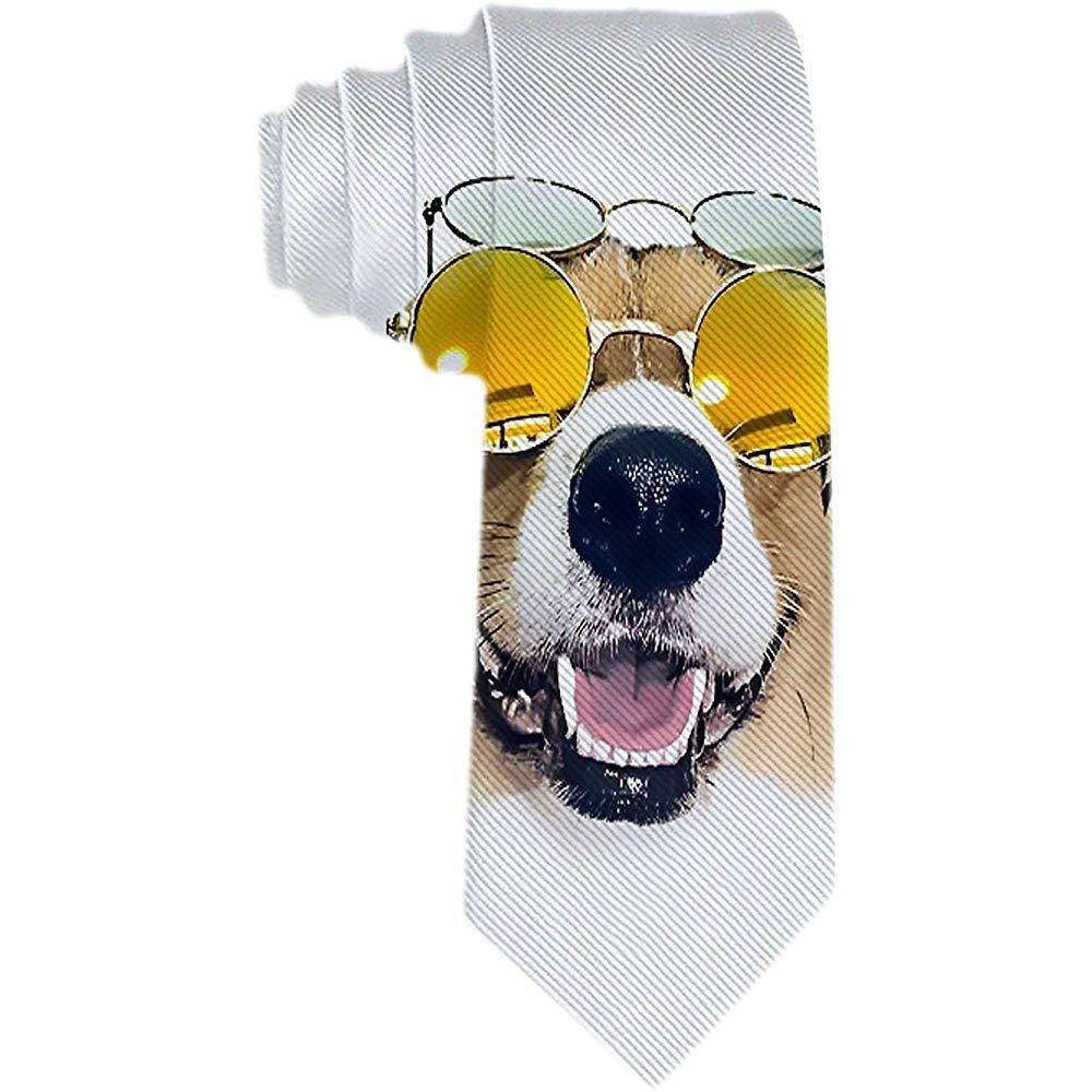 Corbata para hombre Perro divertido con gafas de sol amarillas ...