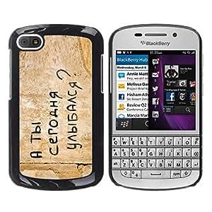 A-type Arte & diseño plástico duro Fundas Cover Cubre Hard Case Cover para BlackBerry Q10 (Gracioso - Mensaje de Rusia)