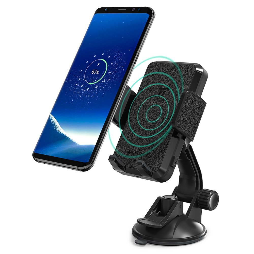 TaoTronics Phone Holder for Car Wireless Car Charger Mount Renewed Qi Fast Charge Phone Mount for Samsung Galaxy S9 S8+ S7 edge S6 edge+ Note8 and Standard Charge