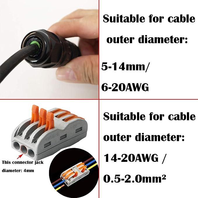 CTRICALVER IP68 Bo/îte de jonction /étanche// 3 voies connecteurs de c/âble //M25 presse-/étoupe /Ø 9mm-12mm//Bo/îte de jonction de c/âble de type Y