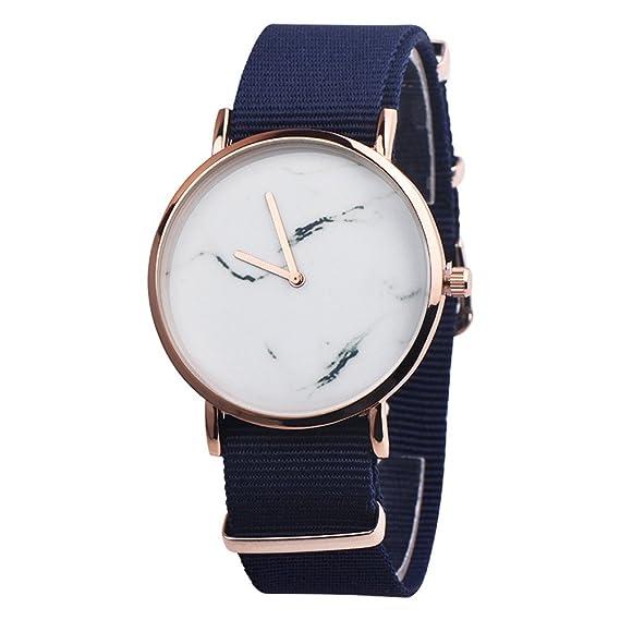 DressLksnf Reloj Lujo Moda de Mujer Pulsera de Diamante Acero Inoxidable Plano Patrón de Mármol Durable