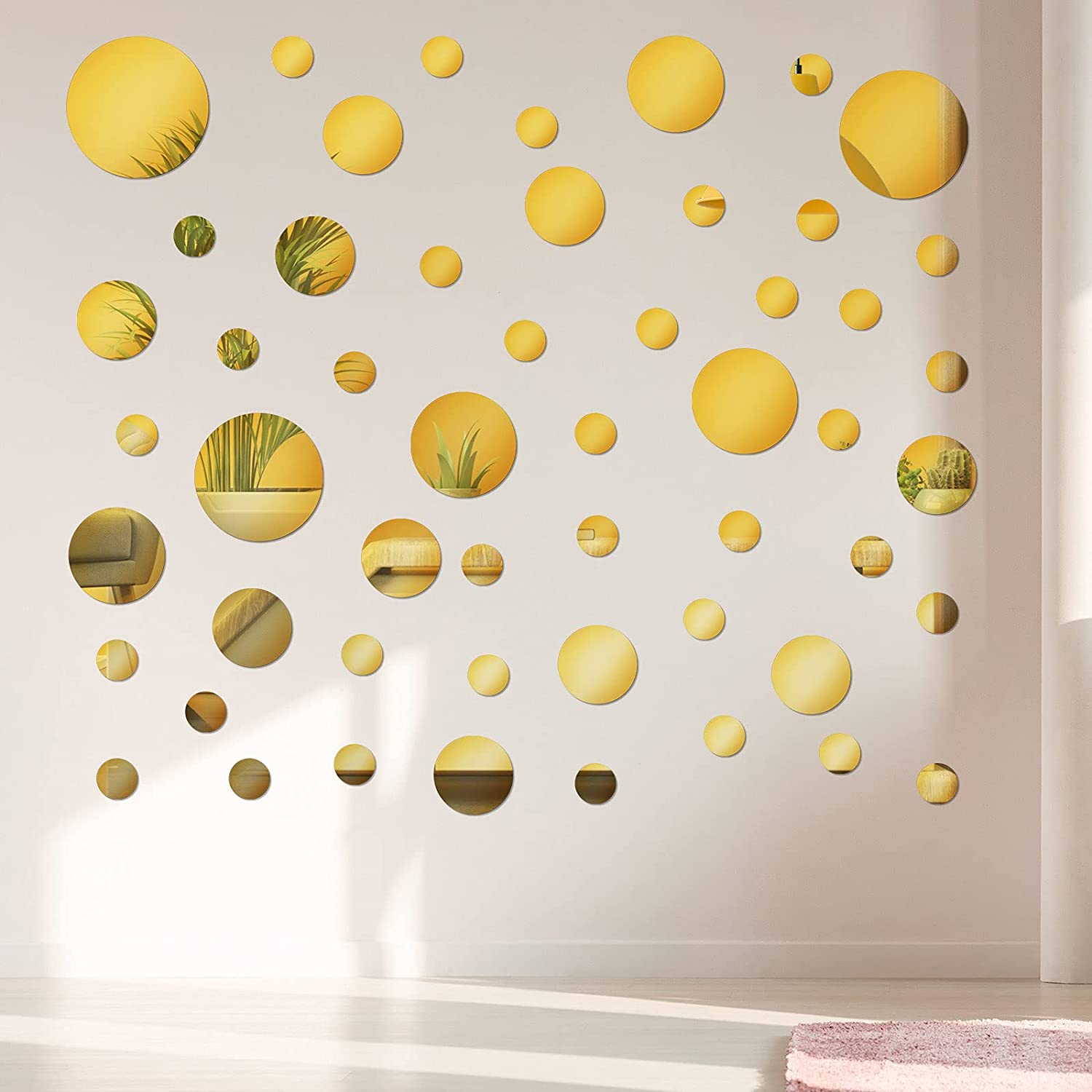 60 Pieces Acrylic Mirror Setting Round DIY Decor Tiles Adhesive Wall Sticker Decal for Bedroom Wall Decor Mirror Living Dining Room Art Background Decoration (Gold)