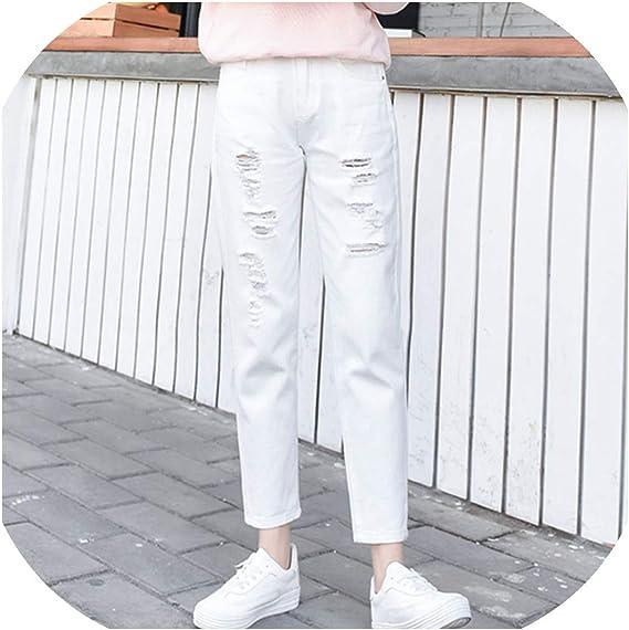 Jeans Blancos De Algodon Para Mujer De Cintura Alta Harem Mom Jeans Talla Grande Azul Cielo Pantalones Negros Moda Para Mujer Jeans Beige Blanco Desgarrado 27 Amazon Com Mx Ropa Zapatos Y Accesorios