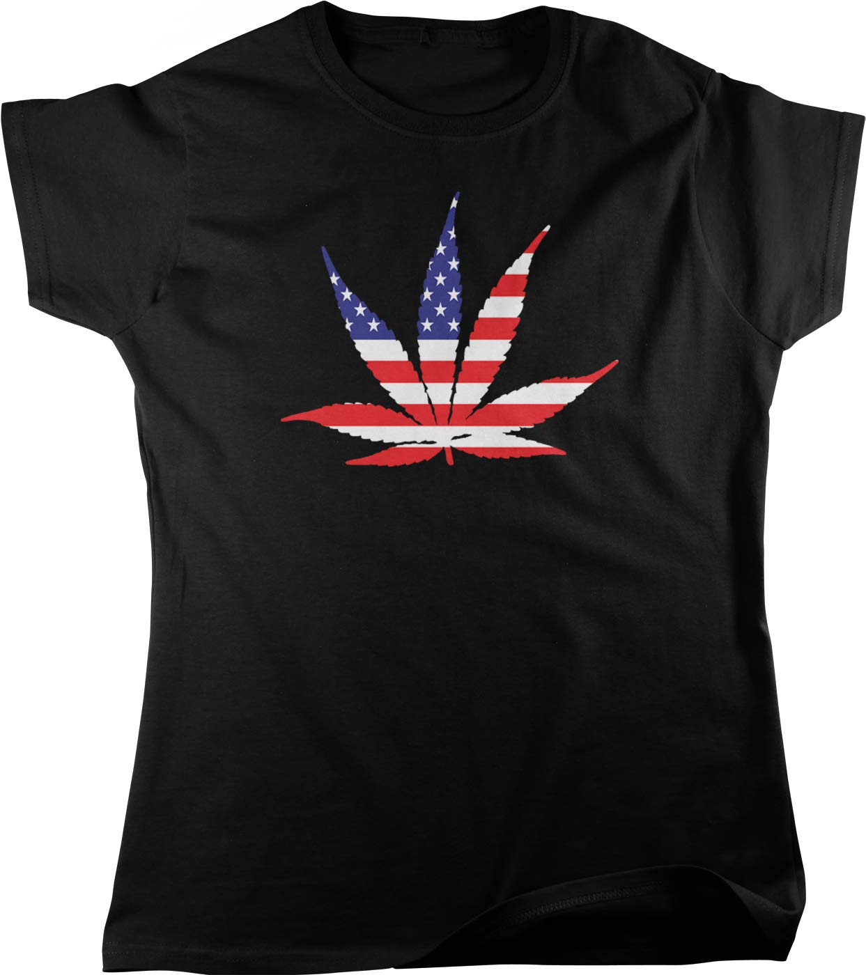 Hoodteez American Flag Pot Leaf, USA Weed, Marijuana Women's T-Shirt
