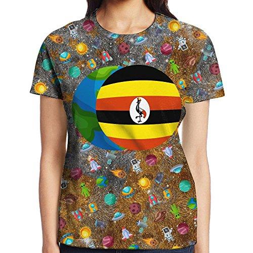 AAAPlus Uganda Flag Women's T-Shirt Round Neck Colorful 3D Printed Funny Fashion T Shirt Tee Shirt (Uganda Christmas Traditions)