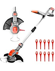 Terratek 18V Lithium-Ion Cordless Strimmer, Telescopic Lightweight Powerful Grass Trimmer, 25cm Cutting Diameter, Battery and Charger Included, Quick Change Spare Blades Included, Grass Edger Lawn Cutter