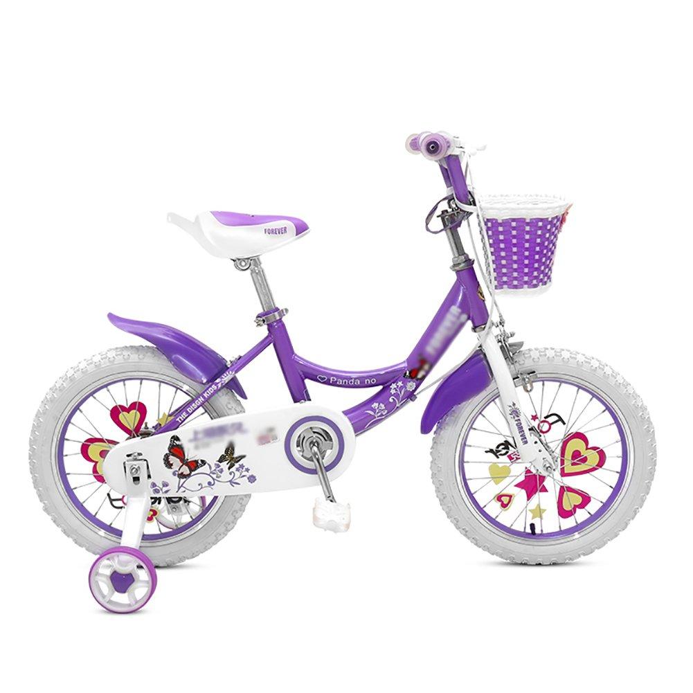 子供用自転車12 14 16 18インチガールベビーサイクリング2-3-6歳児用キャリッジバイクピンクローズレッドパープル B07DVZG6XD 18 inch|パープル ぱ゜ぷる パープル ぱ゜ぷる 18 inch