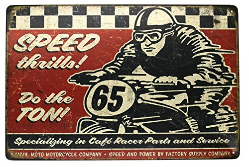 Sumik Speed Motorcycle Race Metal Tin Sign, Vintage Art Poster Plaque Garage Home Wall Decor ()