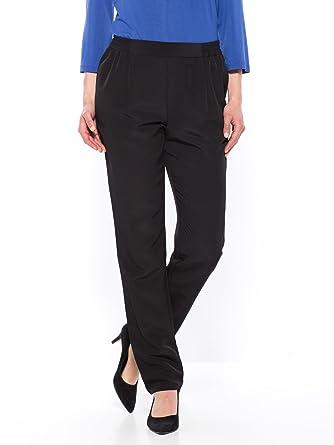 Balsamik - Pantalon noir en crêpe fluide - femme - Taille   52 - Couleur   c9985ce8aa42