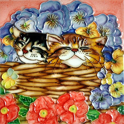 Flower Basket Cat - Decorative Ceramic Art Tile - 6