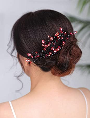 hair accessories bridal hairpiece red bridal haircomb Red Crystal hair comb wedding haircomb red head piece
