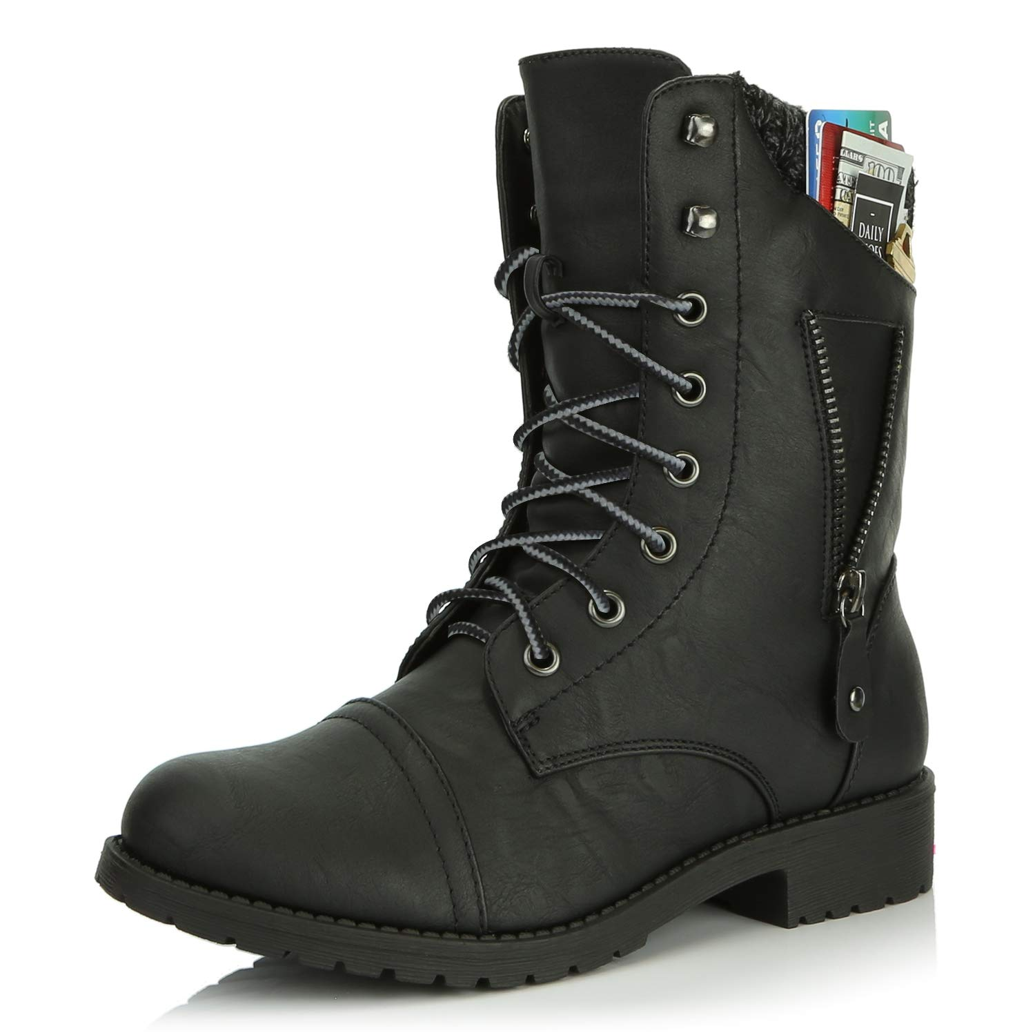 Black Dark Grey DailyShoes Womens Military Lace Up Buckle Combat Boots Zipper Sweater Ankle High Exclusive Credit Card Pocket