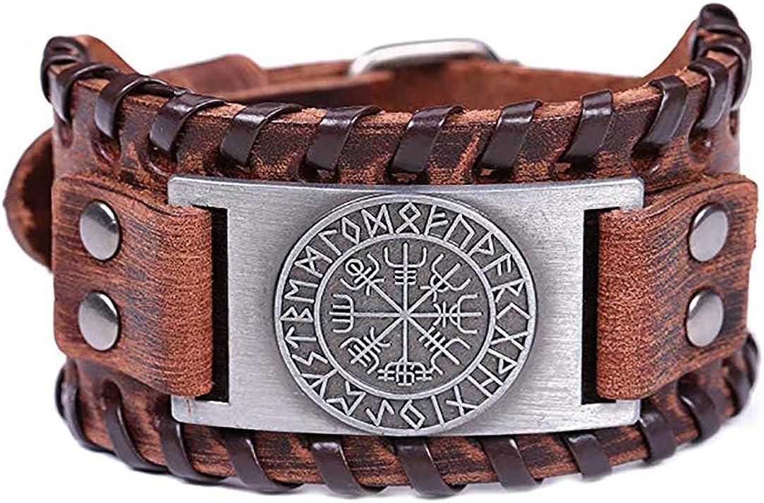 HLARK Viking Bracelet avec Motif Vegvisir Large Bracelet en Cuir pour Homme et Femme Vintage Nordic Runes Amulette