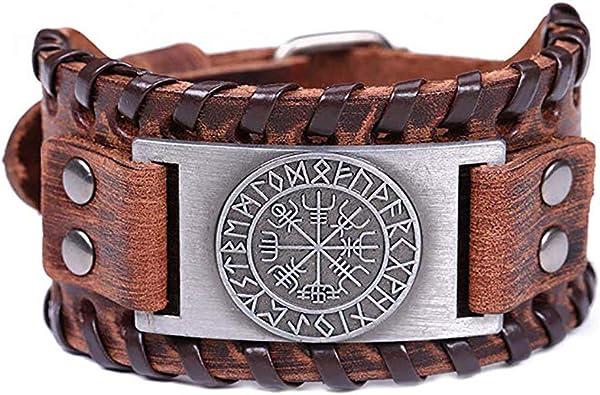 HLARK Pulsera Vikinga con Patr/ón Vegvisir Dise/ño de Campanas N/órdicas Joyer/ía de Amuleto Pulsera Vikingo de Piel para Hombre y Mujer