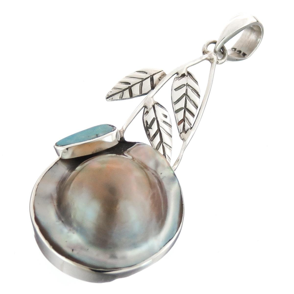 2 3//16 Handmade Opal Doublet Mabe Cultured Pearl 925 Sterling Silver Pendant