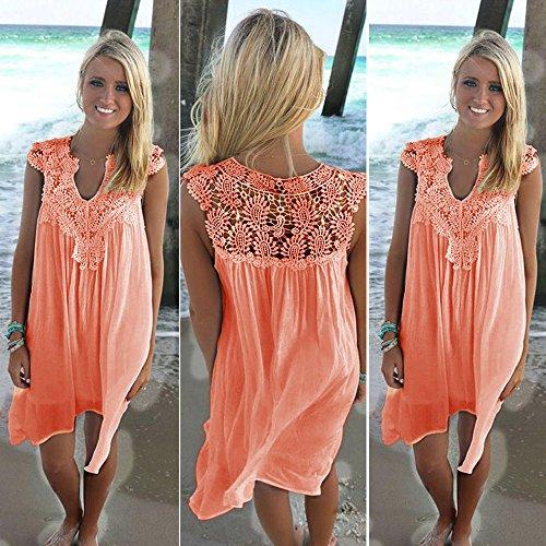 Women Lace Loose Dress Sale Orange Hollow Sleeveless Dresses Party On Girls Floral Evening Teen rwpFrT6xq