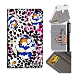 Iconia Tab 8 A1-840FHD Case,Hotmall(R) Cowhide Premium Leather Case Smart Cover with kickStand Card slot Pocket Non-slip Elastic Hand Strap for Acer Iconia Tab 8 A1-840FHD (Leopard watercolor flowers)