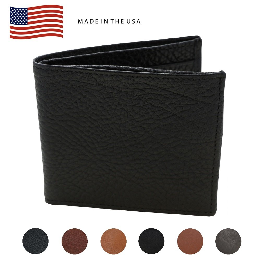 Black Arizona Bifold Genuine Leather Wallets for Men – American Factory Direct – Holds US Dollars Euros and Pounds Hipster Wallet - Made in the USA by Real Leather Creations FBA558