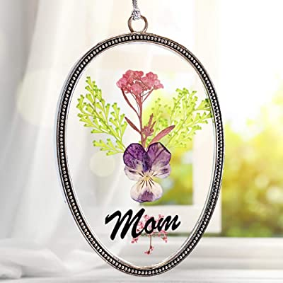 BANBERRY DESIGNS Mom Pressed Flowers Sun Catcher - Decorative Glass Suncatcher with Colorful Dried Flower Designs - Mother- Gifts for Mom : Garden & Outdoor