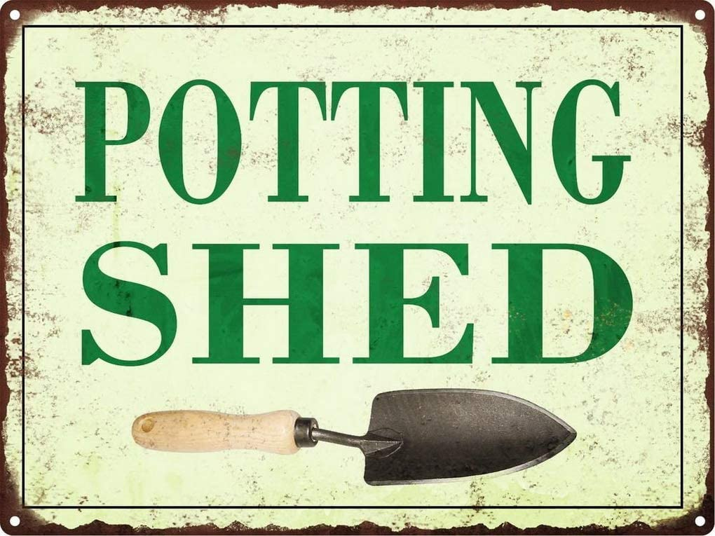Sylty Potting Shed Metal Signs Vintage Look Rustic Garden Flowers Retro 12x12 Inch