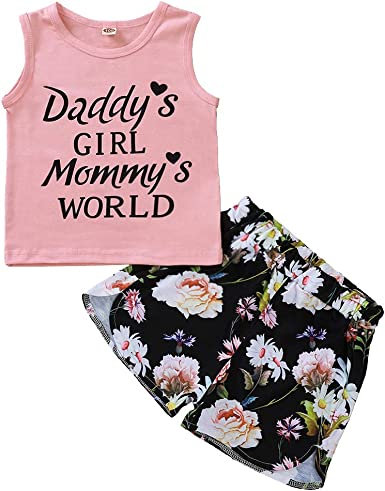Floral High Waist Shorts Clothes Sets 2019 Toddler Baby Girls Summer Outfits Vest Top Shirts
