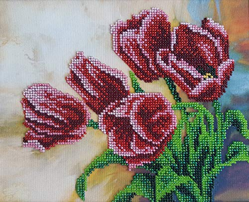 (Bead Embroidery kit Spring Tulips Beaded Cross Stitch Needlepoint Handcraft Tapestry kit)