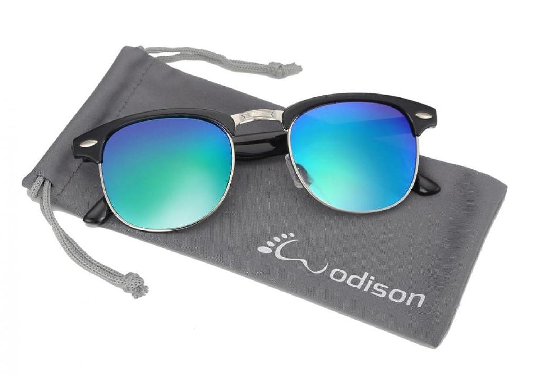 8665354dfe WODISON retro medio marco (Half Frame)con borde de las gafas de sol protegen