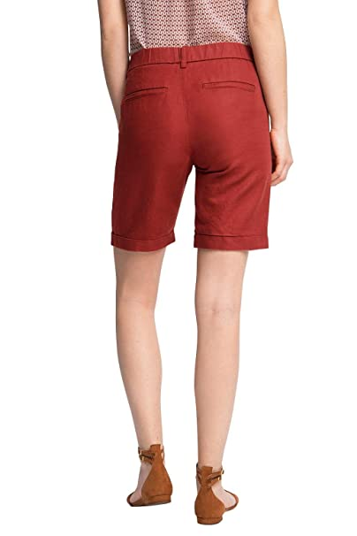 046CC1C012-with Linen, Bermuda Femme, Rouge (Garnet Red 620), S (Taille Fabricant: 36)EDC by Esprit