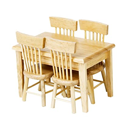 Furniture miniature Easy Image Unavailable Amazoncom Amazoncom Lowpricenice 5pcs Wooden Dining Table Chair Model Set
