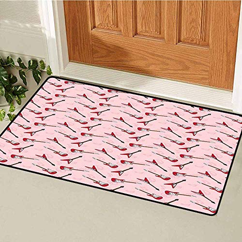 Gloria Johnson Guitar Universal Door mat Different Electric Guitar Silhouettes on Pink with Music and Peace Signs Door mat Floor Decoration W31.5 x L47.2 Inch Pale Pink Maroon Brown