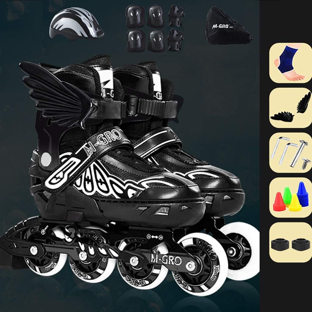 スケート少年と少女の調整可能なインラインスケート初心者 (Color : 黒, Size : S(EU26-32)) 黒 S(EU26-32)