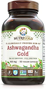 NutriGold Organic Ashwagandha Gold, 500 mg, 90 Plantcaps - Clinically-Proven, Non-GMO, Full-Spectrum Root Standardized Extract Powder Supplement