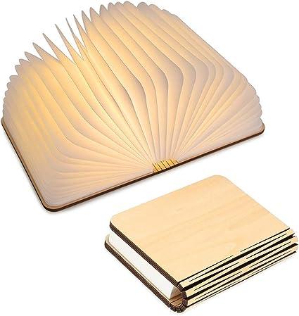 Lampada Libro Usb Ricaricabile Lampada A Forma Di Libro Luce Led Di Legno Decorativi Lampada Da Tavolo 1000mah Mini Lampada A Libro Amazon It Elettronica