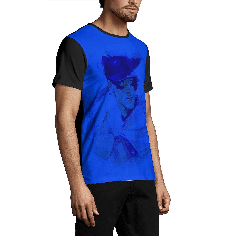 Hemline Pattern Print T Shirts Crew Neck Black Short Sleeves Tops Man Tee #50 Aaron-Judge-New-York-99-blue