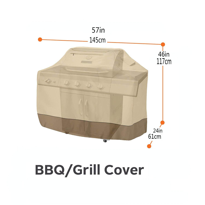 Copri BBQ Copertura Barbecue Impermeabile Telo Protettivo Per BBQ Grill Anti Pioggia Polvere Copertura Per Barbecue Tessuto 600D Oxford,Beige+Brown,145X61x117cm Copertura Impermeabile Per Barbecue