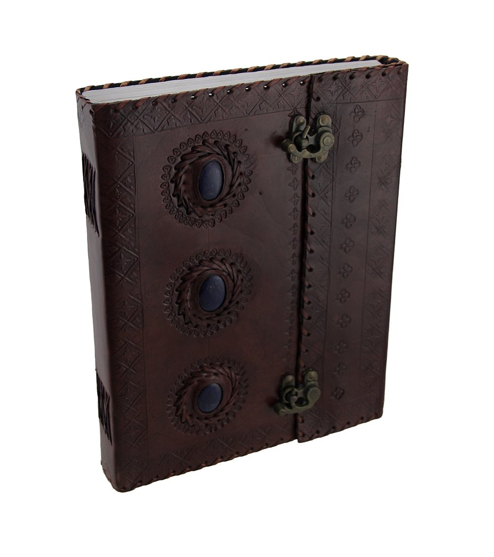 Large Triple Blue Stone Embossed Leather Bound Journal w/Double Swing Clasps