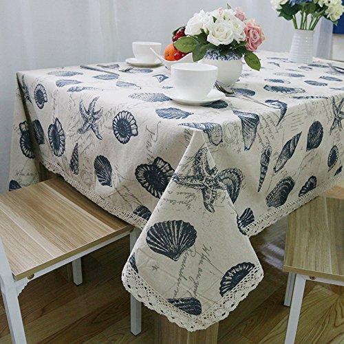 BlauLSS Einfachen Stil Shell Drucken Rechteck Baumwolle Tischtuch gute Qualität Home Outdoor Party Tischdecke Abdeckung Towelsee Chart 140  180 cm. B07B323PWC Tischdecken Deutsche Outlets  | Ausgezeichnet