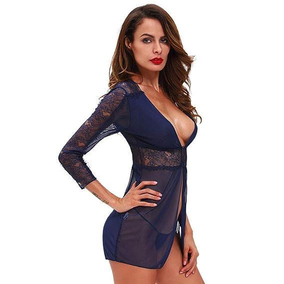b84b1560ca410 DASENLIN Femmes Nuit Vêtements Femme Dentelle Sexy Lingerie Bleu Foncé, Col  V Profond, Sept