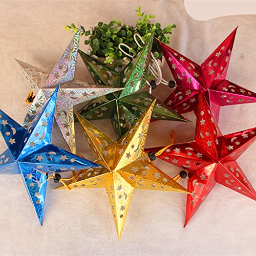 Lanlan Three-dimensional Laser Five-pointed Star Christmas Ornaments,Christmas Paper Decorative Star - Vegas Las Mall Dr