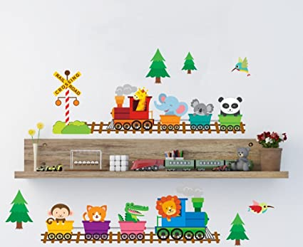 Woodland Animal pegatinas de pared, tren Nursery Wall Art Decor Lovely Baby Animal de los