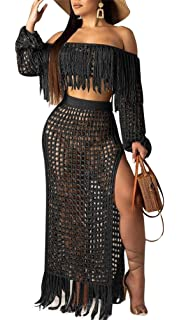 8977d2406 Lucuna Womens Sexy Off The Shoulder Mesh See Through 2 Piece Outfits Crop  Top and Club