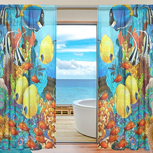 SEULIFE Window Sheer Curtain Ocean Sea Tropical Fish Voile Curtain Drapes for Door Kitchen Living Room Bedroom 55x84 inches 2 Panels -