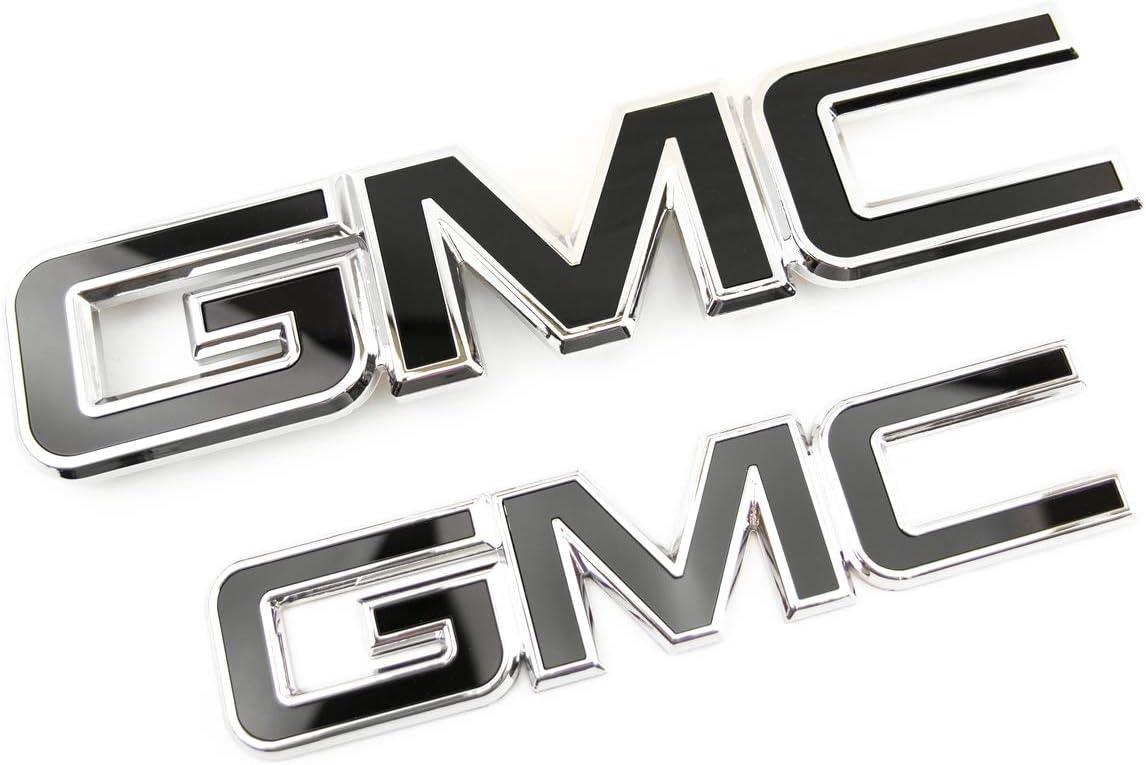 2 NEW CUSTOM 15-18 GMC SIERRA BLACK /& WHITE GRILL /& TAILGATE EMBLEM SET KIT
