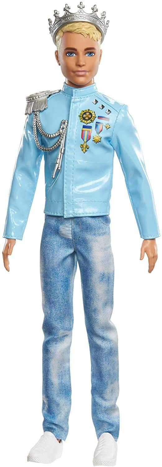 Barbie Princess Adventure Prince Ken Doll (12-inch) Wearing Jacket, Jeans and Crown, Makes a Great Gift for 3 to 7 Year Olds