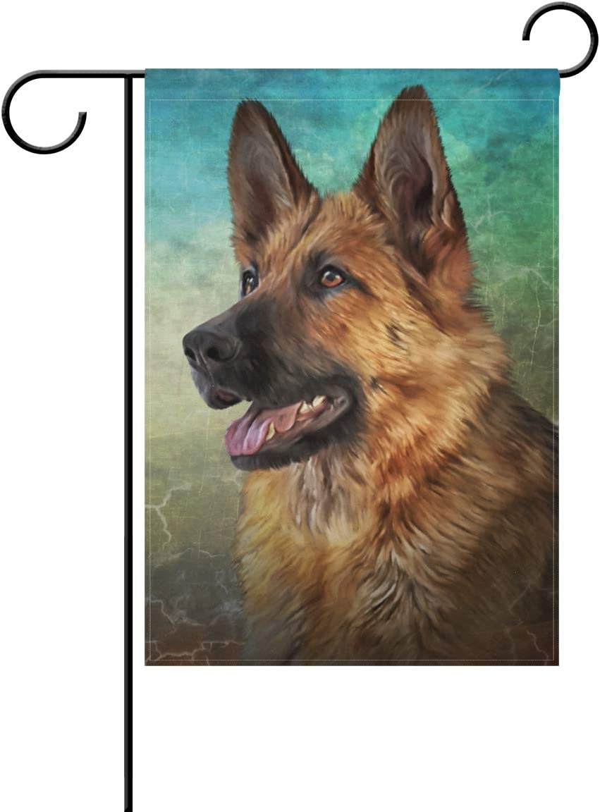 Hokkien Oil Painting German Shepherd Dog Garden Flag Banner 12 x 18 Inch Decorative Garden Flag for Outdoor Lawn and Garden Home Décor Double-Sided