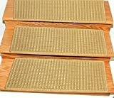 Ottomanson ST2001-14Pack Jardin Collection Set of 14 Beige Solid Design 8.5″ X 26″ Jute Back Indoor/Outdoor Carpet Stair Tread, 14 Pack