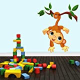 Decals Design 'Adorable Baby Monkey Swinging' Wall Sticker (PVC Vinyl, 60 cm x 45 cm)