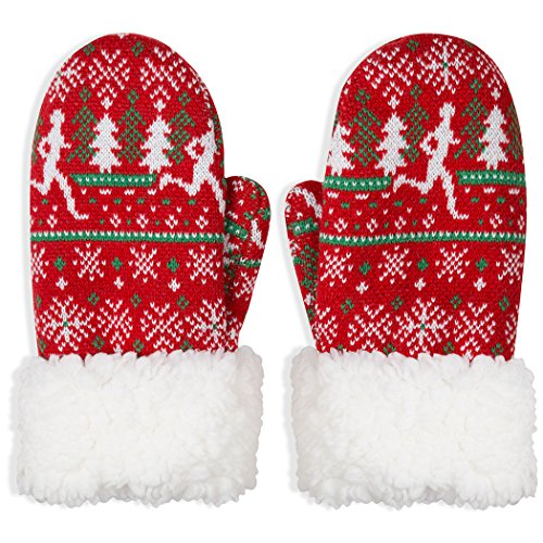 (Ugly Sweater Running Sherpa Mittens | Running Gloves by Gone For a Run)