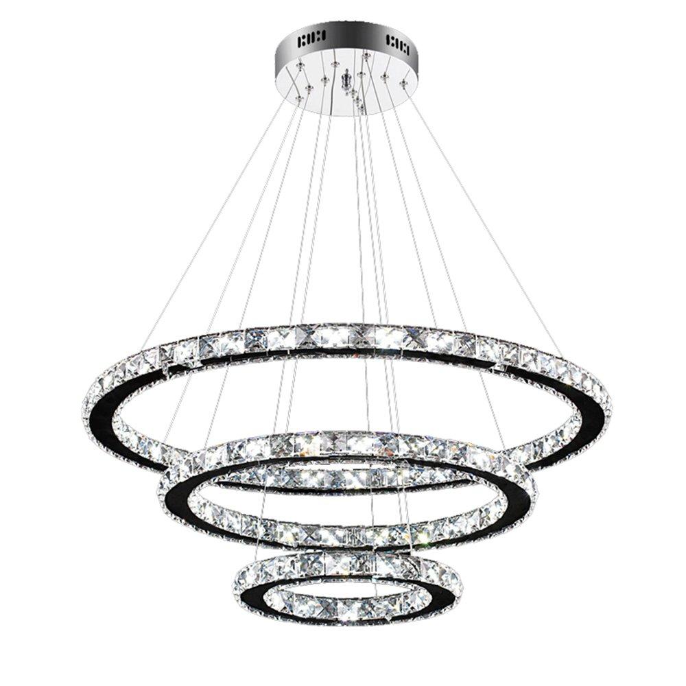 SAILUN 96W LED Kristall Design Hängelampe Drei Ringe(Φ: 30cm+50cm+70cm) Deckenlampe Pendelleuchte Kreative Kronleuchter Kaltweiß Lüster (96W Kaltweiß)