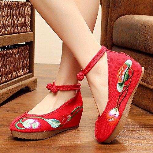 WXT Zapatos bordados, lino, lenguado del tendón, estilo étnico, zapatos femeninos, manera, cómodo, zapatos de lona los 5cm Red